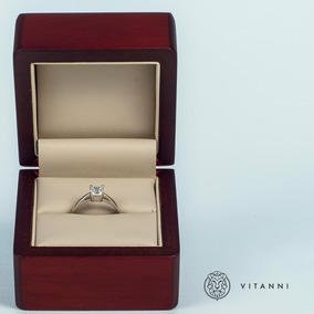 Anillo De Compromiso Oro Blanco 14 Kilates Con Diamante