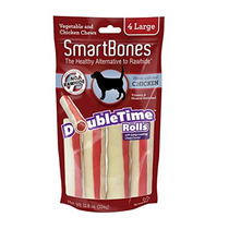 Smartbones Doubletime Rolls Dog Chew Pollo, Grande, 4 Pieza