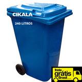Lixeira Condominio Coletor De Lixo Com Roda Tampa 240 Litros