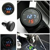 Termômetro Voltímetro Automotivo Digital E Carregador Usb