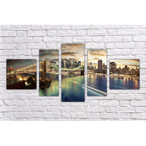 Quadro Decorativo Cidade Ponte Nova York Famosas 5 Peças 01