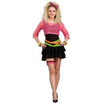 80, Mujer Disfraz Groupie, Rosa / Negro, Talla Única