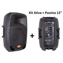 Caixa Som Ativa + Caixa Passiva 12 - Bluetooth Fm Pen Drive