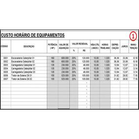 Planilha Excel Custo Horário De Equipamentos Pesados