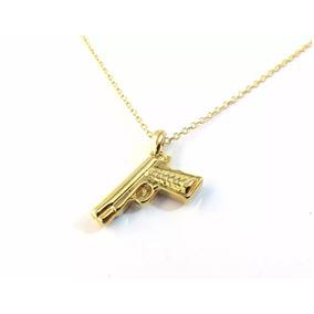 Cordão Colar Policial Arma Revolver Folheado A Ouro 18k