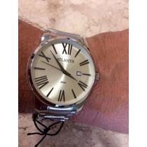 Relógio Masculino Atlantis Original Algarismo Romano Prata