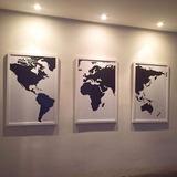 3 Quadros Com Moldura - Mapa Mundi 60x40cm