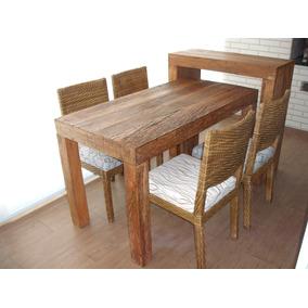 Mesa Para Varanda Madeira De Demolição 4 Cadeiras