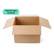 Cajas De Cartón 27x21x21 / Pack 25 Cajas / Cart Paper