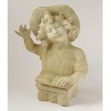 Antigua Figura Busto Niño Alabastro