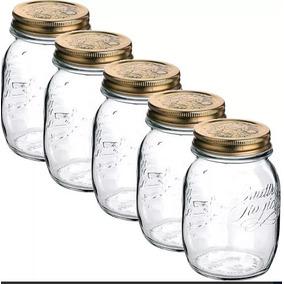 5 Pote Vidro Hermético Quattro Stagioni Mason Jar 1 Litro