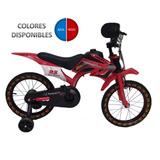 Bicicleta Niño Carcasa Tipo Moto Rin 16 Azul Y Rojo 4llantas