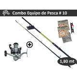 Combo Equipo Pesca #10 Caña 1,80 Reel Lineas Variada De Rio