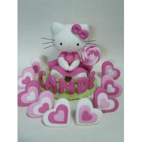 Kitty Adorno Para Torta Porcelana Fría Con Nombre!