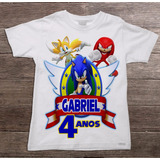 Camiseta Infantil Sonic Personalizada Tema Festas
