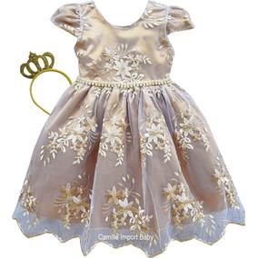 Vestidos Batizado Daminha Casamento Dourado Menina 1 Ao 16