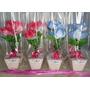 24 Centro De Mesa Vasinho De Flores Diversas, Personalizado.