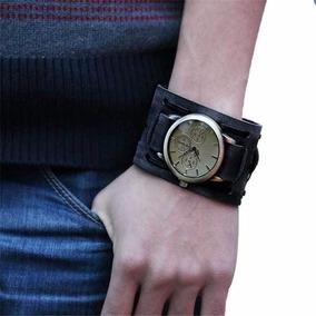 Relógio Bracelete Masculino Preto Desbotado Pulseira Larga