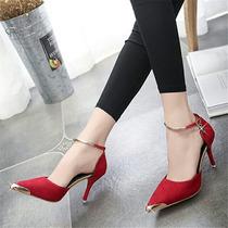 Sapato De Camurça Salto Alto Importado