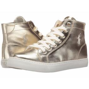 Zapatillas Botitas Ralph Lauren Mujer Cuero Metaliz. Doradas