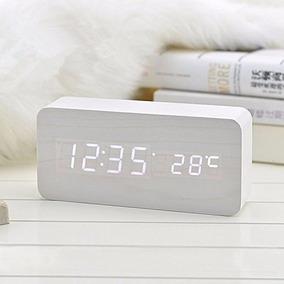 Reloj Despertador Diseño Led Hora Temperatura Simil Madera