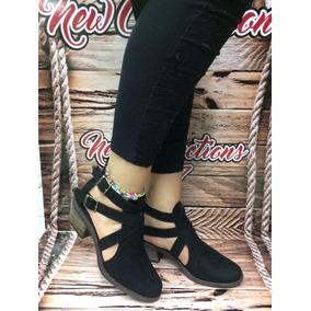 Zapato Texanos Negro Moda Mujer Dama Tacón Bajito Elegante