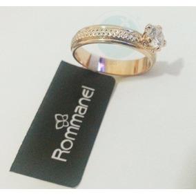 Rommanel Anel Cristal Pedra Solitária Folheado Ouro 511402 C