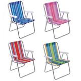 Cadeira De Praia Alta Alumínio 53x55x73 Cm Cores Sortidas