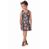 Vestido Lindo Em Malha Estampa De Borboletas Infantil