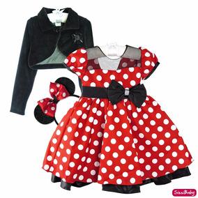 Vestido Infantil Minnie Vermelho Luxo Com Tiara E Bolero