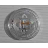 Bitcoin - Moeda Físca - Banhada A Prata - 1 Onça