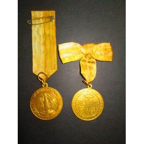 2 Lindas Medalha Antigas Externato São José Rj Metal Dourado