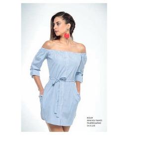 Vestido Bluson Cinturon Bicolor Rayas Azul Y Blanco 10599