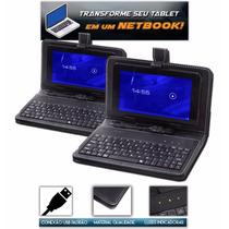 Capa Case Com Teclado Usb Padrão + Adaptador Tablet 7 Pole