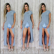 Blusa T Shirt Blusâo Vestido Maxxi Fenda Frontal Blogueiras