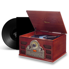Radio Toca Disco Retro Bluetooth Rádio Cd Usb Vinil Vintage