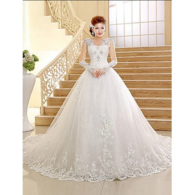 Vestido De Noiva Importado Com Véu E Luvas Incluso Novo