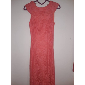 Vestido De Fiesta Largo Soya Usado De Encaje Color Salmon