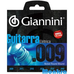 Encordoamento Guitarra 09 Giannini - Grátis Mizinha Extra