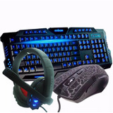 Kit Gamer Teclado Abnt Luminoso+mouse 3200dpi+fone Headset