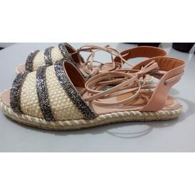 Sapato Rasteirinha Sandália Com Tiras Calcanhar N°35 Creme