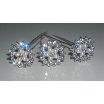 Set De 8 Horquillas Pins Con Perlas Y Strass Ideal Novias
