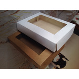 Caixa De Presente Com Visor Kraft Ou Branco 300g 17x22x4