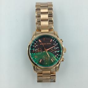 Reloj Michel Kors Mk-3490 Dorado-verde Envi Gratis Original