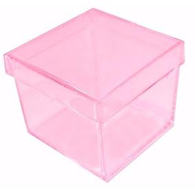 35 Caixinha Acrílica 4x4 Rosa Transparente Lembrancinha