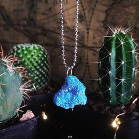 Collar Cuarzo Aura Azul Zafiro Titanio En Bruto Natural