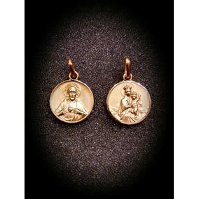Medalla Escapulario Corazón De Jesús Con Virgen Del Carmen