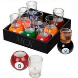 Copas Vidrio Bolas De Billar Pool Shot Set X 9- Licor 8117
