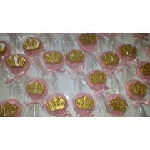 Pirulito De Chocolate Rosa Com Coroa Dourada 12 Unidades
