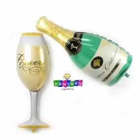 Globo Botella Champagne Copa Celebracion 45cm Metalizados